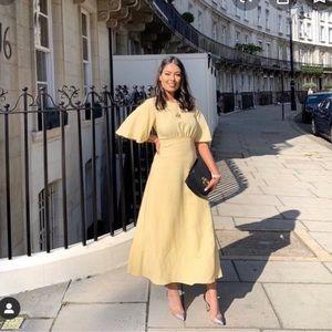 Zara yellow linen dress